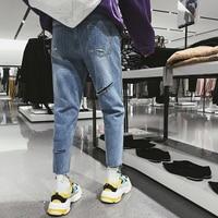 Vintage Style Baumwolle Löcher Baggy Casual Homme Blue Lose Jeans Männer 2018 Sommer Routine Male bein Hosen Jugendliche M-2XL