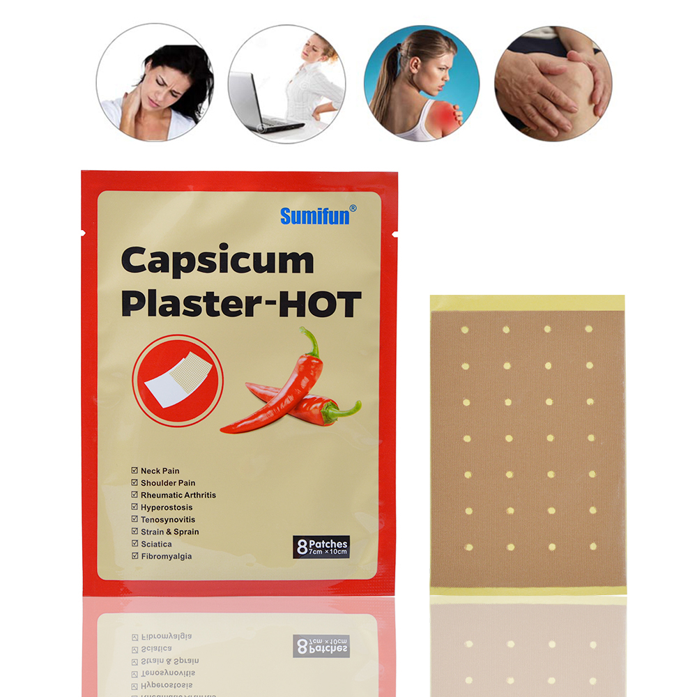 Hot Sell 8Pcs/Bag Pain Relief Capsicum Plaster-Hot Neck Pain Shoulder Pain Health Care Medical Patch Body Relaxtion JMN015