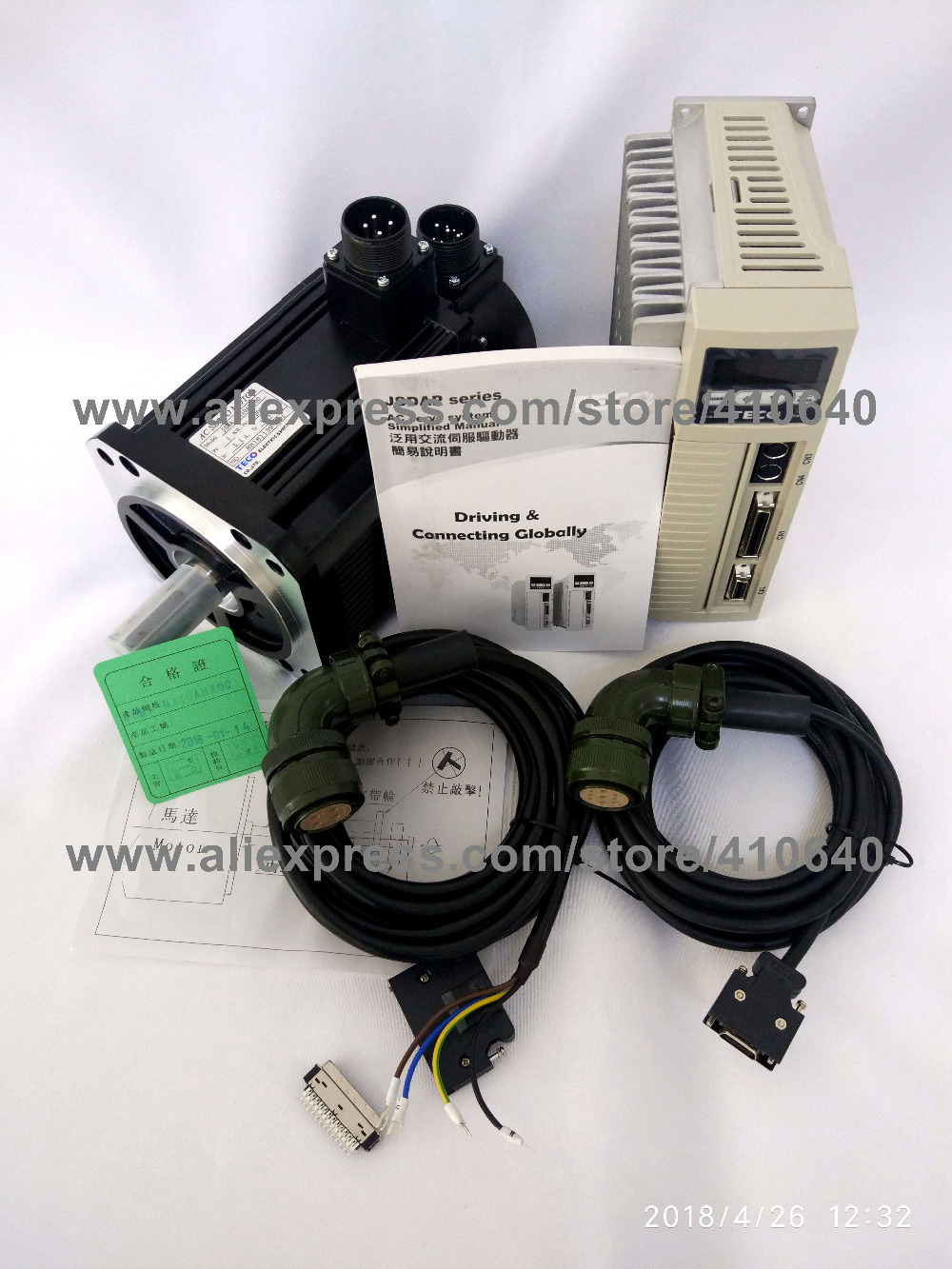 Genuine TECO 3KW Servo Motor JSMA-MB30ABK01 and Servo Motor Drive JSDA-75A3 with 42.96 Peak Torque