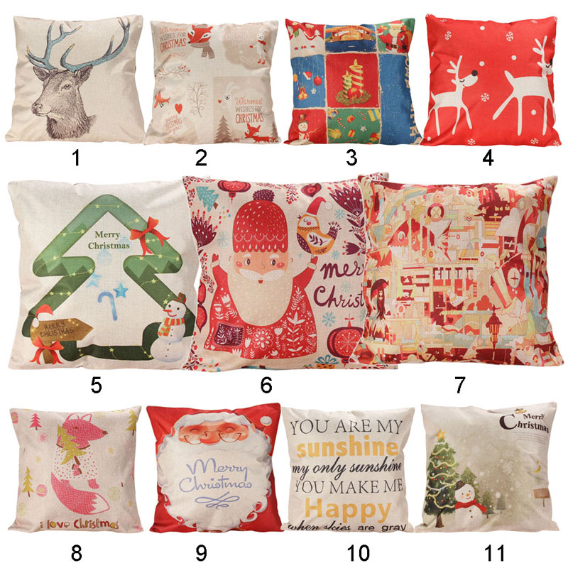 Santa Claus Snowman Cushion Merry Christmas Deer Red Pillow French Country Farmhouse Decorating Throw Pillow Covers Small Linen