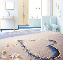 Custom Photo Floor 3D Wallpaper Modern Art Beach Sea Water Heart Shaped 3D floor Mural-3d PVC Wallpaper Self-adhesive Floor(China)