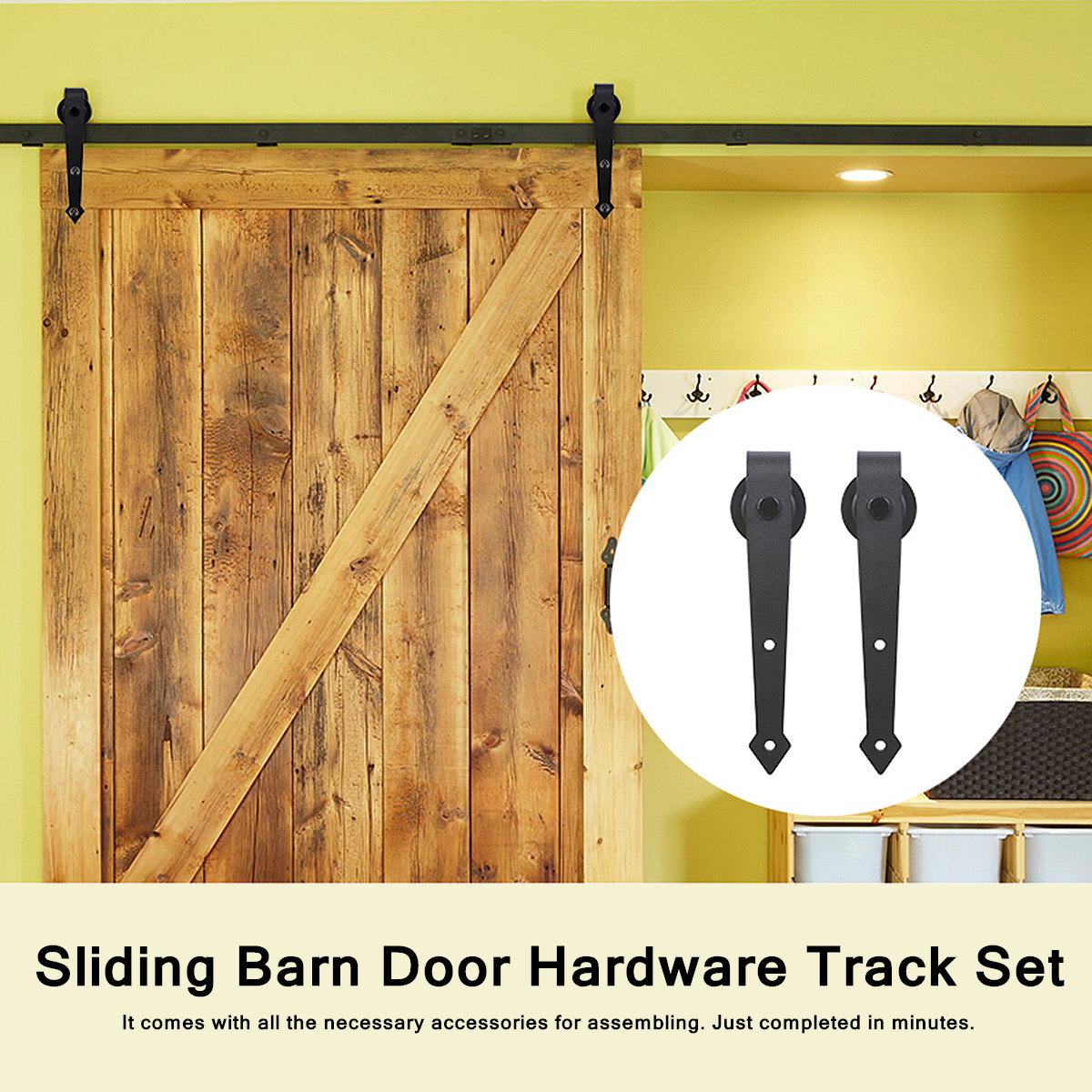 Arrow Type Carbon Steel Sliding Barn Door Hardware Track Set For