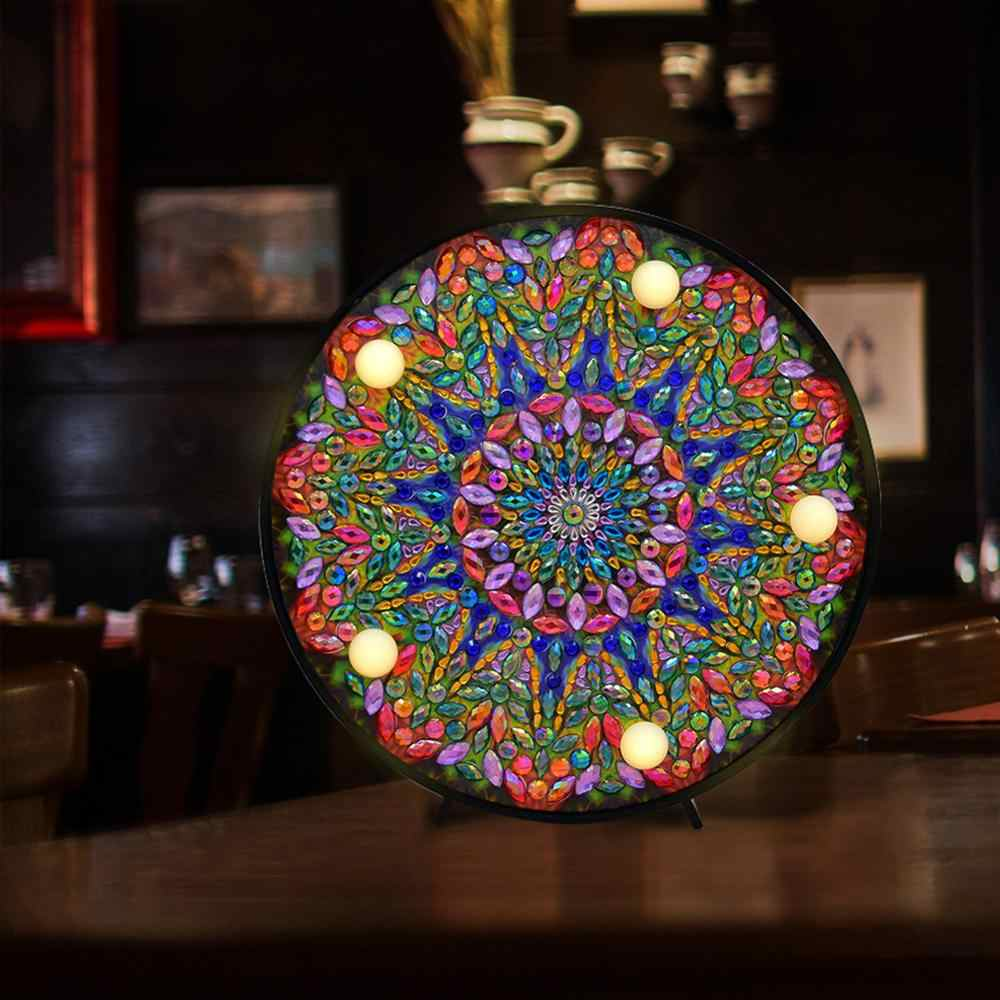 DIY Mandala Diamond LED Lights Full Drill Special Shaped Diamond Painting Light for Bedroom Christmas Decoration