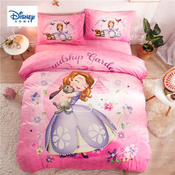 Disney Bedding set Twin size Comforter Duvet Covers for Kids Girls Bedroom Decoration Full Queen Bedclothes Pink Colored 3-5 pcs