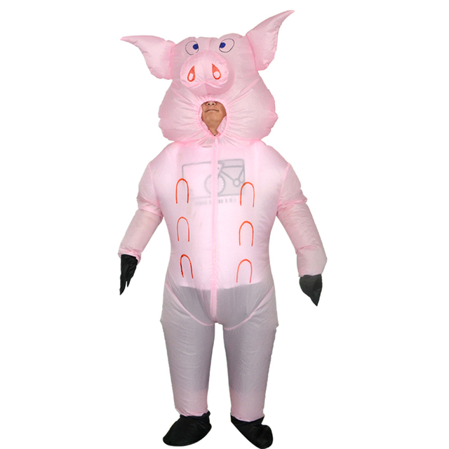 Funny Pink Pig Ride-on Costume 2018 Newest Inflatable Costumes For Adults  Women Men Halloween Carnaval Party Cosplay Toy Disfraz ca0d42058ba1