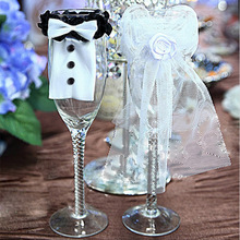 1 Pair Bride and Groom Wedding Engagement Party Table Cup Glass Cover Wedding Party DIY Decorations