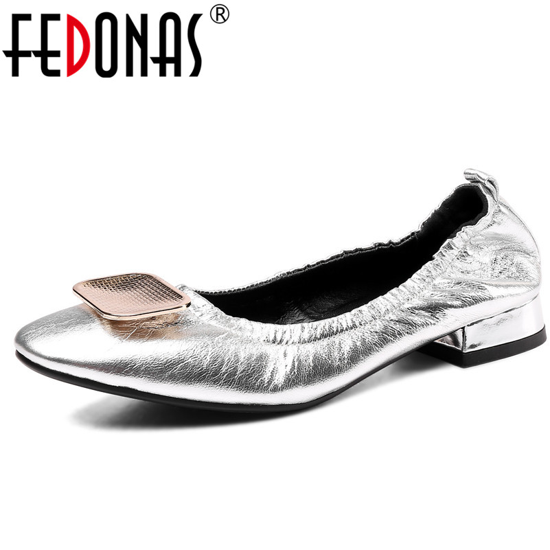 FEDONAS 2019 New Women Pumps Casual Genuine Leather Women Fashion Spring Wummer Shoes Woman Concise Vintage