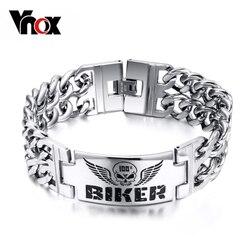 Vnox Biker Bracelets Men's Jewelry 316l Stainless Steel Skull Double Chain Charm Gift