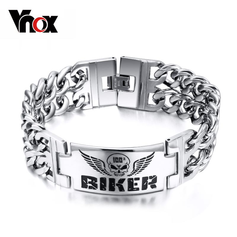 Prix pour Vnox biker bijoux de bracelets hommes acier inoxydable 316l crâne double chaîne charme cadeau