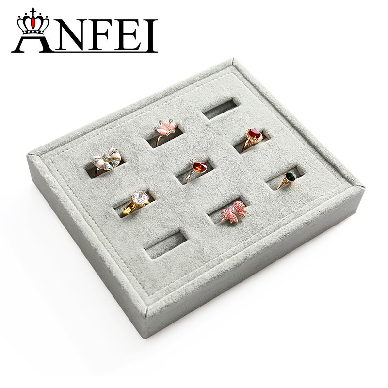 ANFEI New Arrivals Grey Fabric 9 Seats Ring Display Stand Earrings Jewelry Display Jewellry Rings Holder WSY-1