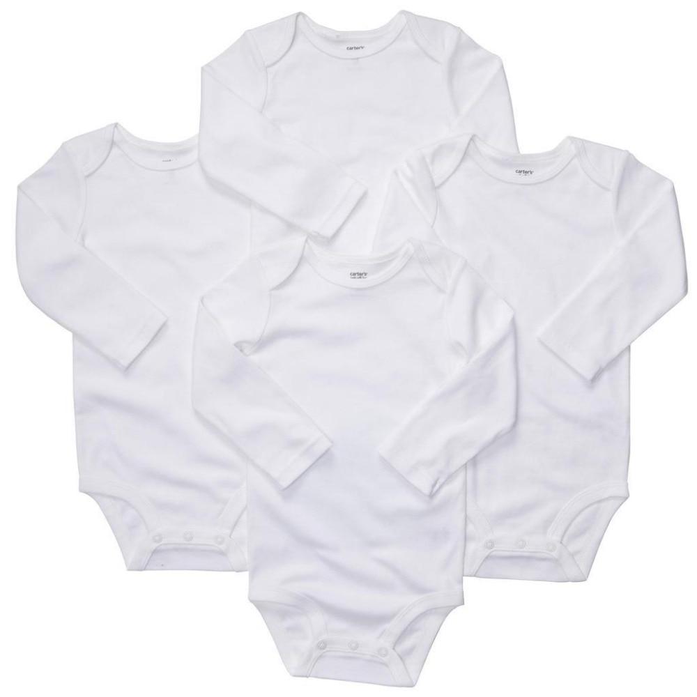 L4-005, מקורי, תינוקות בגד גוף סט, חלקים בחבילה, לבן טהור, סגנון קלאסי, שרוול ארוך, תחושה רכה, משלוח חינם