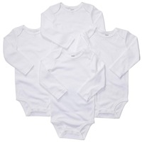 L4-005,Original,Babies Bodysuit Set,4-Piece per Pack,Pure White,Classic Style, Long Sleeve, Soft Feeling, Free Shipping
