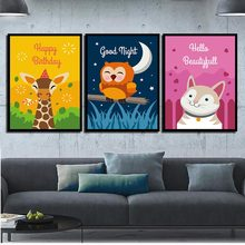 Nordic Posters Pictures For Office Living Room Giraffe Owl Cat Modern Quotes Canvas HD Paintings Wall Artwork Print Home Decor(China)