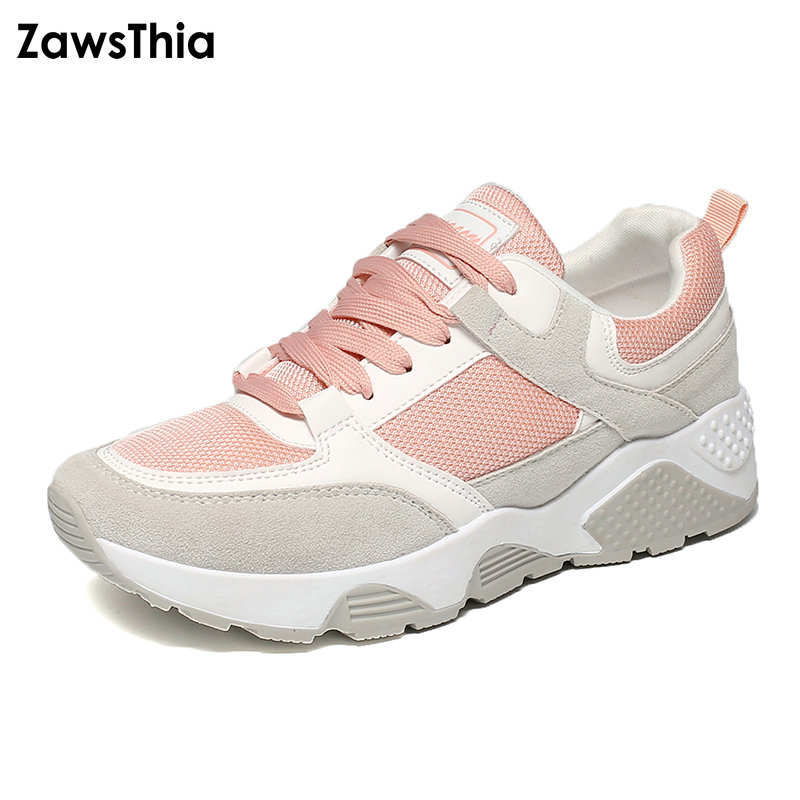ZawsThia 2018 new patchwork air mesh breathable lace up outdoor women casual shoes student girls flats woman sneakers shoes 2017 patchwork lace up rubber sole canvas shoes breathable super leisure women casual shoes with flats student shoes rm 05