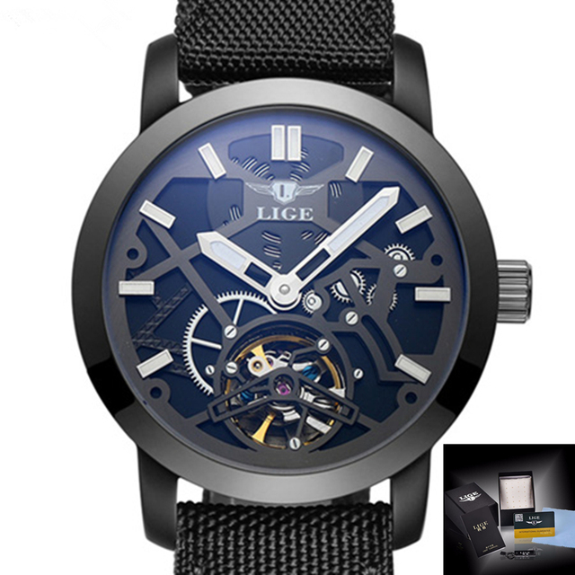 New Men's Sports Watch LIGE Luxury Brand Watches Automatic Mechanical Watch Men's Military Machine Idle Skeleton Casual Watch