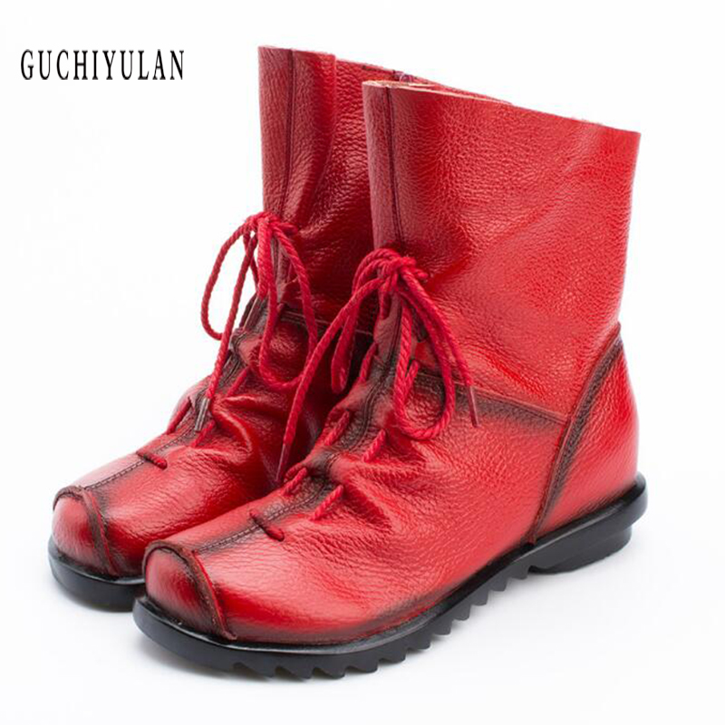 Handmade Ankle Boots Martin Flat Boots 100% Real Genuine Leather Shoes Retro Winter Snow Boots Leather Cowgirl Boots Women beyarne 2018 women s ankle boots autumn winter soft handmade retro martin boots flat shoes 100
