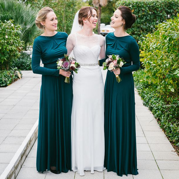 Elegant Green Long Sleeve Bridesmaid Dresses Chiffon Sheath Backless ...
