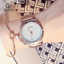GUOU Brand Rose Gold Bling Full Stainless Steel Quartz Bracelet Wrist Watch Wristwatches No Fade Japan Movt OP001