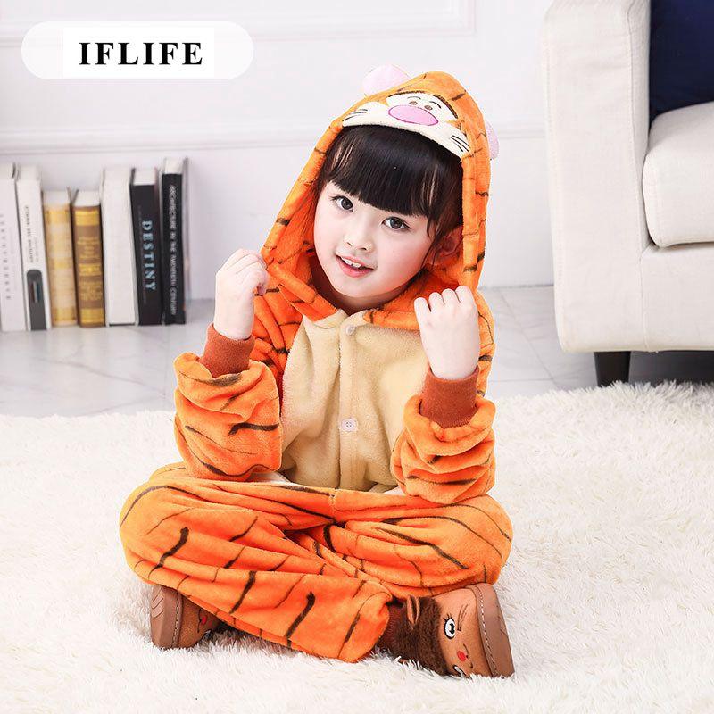 Pijama Infantil Onesie Hooded Kids Animal Cartoon Pajama Tiger Orange Children Boy Girl Unisex Pyjama