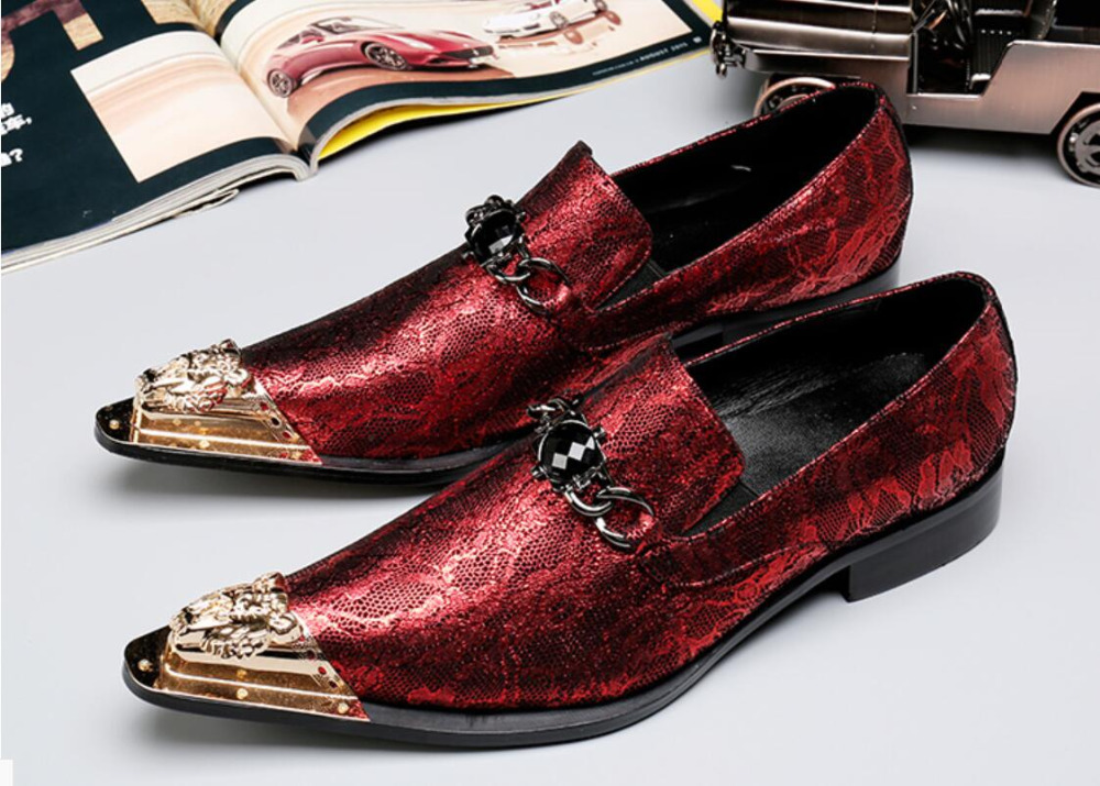 Red Men Dress Shoes Fashion Style Man Genuine Leather 2018 Spring Wedding Shoes Social Sapato Male Oxfords Flats Shoes Sapatos