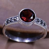 Real Pure 925 Sterling Silver Jewelry Vintage Thai Red Garnet Ring Natural Stone Rings For Women Antique Anel Feminino