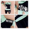New baby boys cartoon suit long-sleeved t-shirt + pants  cotton children Kids sets