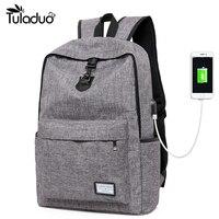 New Design USB Charging Men S Backpacks Male Casual Travel Mochila Teenagers Student School Bags Simple