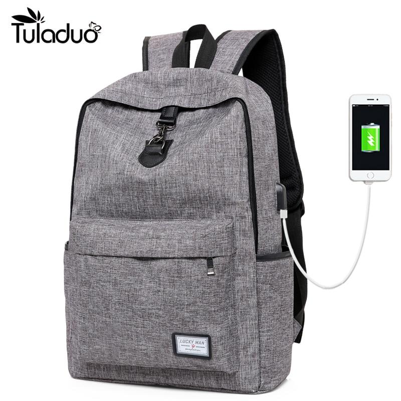 New Design USB Charging Men's Backpacks Male Casual Travel women Teenagers Student School Bags
