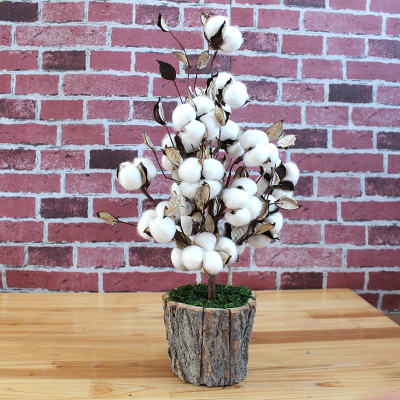 Thread Christmas Tree: Cotton Bolls Branch Artificial Flower Cotton Stems