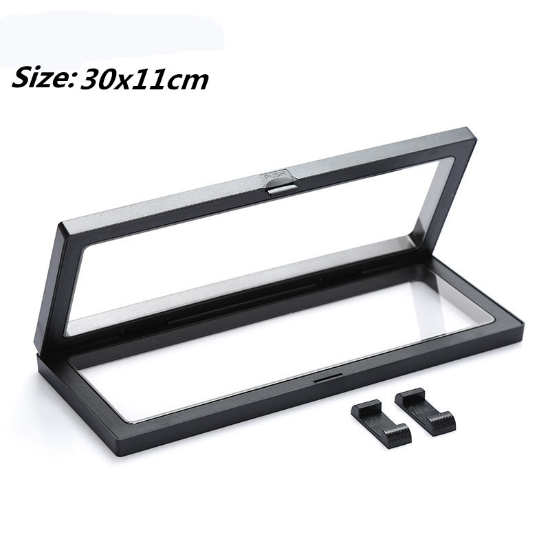 30x11cm PET Membrane Jewelry Pendant Display Stand Holder Bague Packaging Box Protect Jewellery Coins Floating Presentation Case