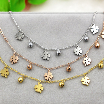 New Arrival Flowers And Bell Anklets For Women Titanium Steel Gold Rose Gold Silver Colors Women Jewelry Anklets Wholesale 3