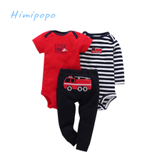 HIMIPOPO 3pcs Children Set Baby Romper  Baby Girls Boys Pant Infant Clothes Suit