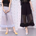 2017 Newest Summer Chiffon Wide Leg Pants Women Vintage Loose Plus Size See Through Harem Pants Joggers Causal Pantalon Femme