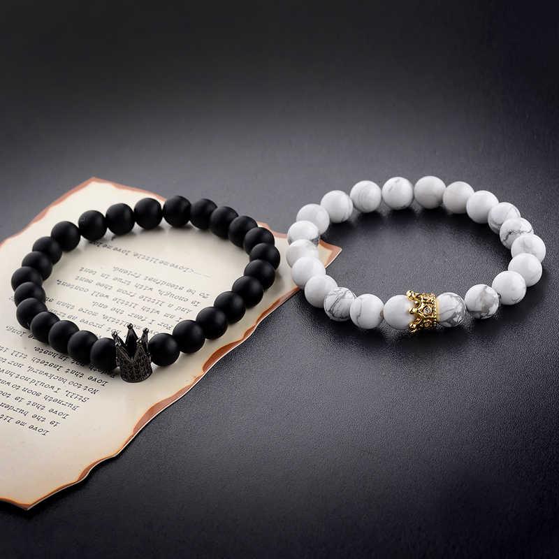 c53d506d3c Amader New Design Couple Bracelets Handmade Distance Black Matte&White Cz  Crown King Beads Stone Bracelet Lovers