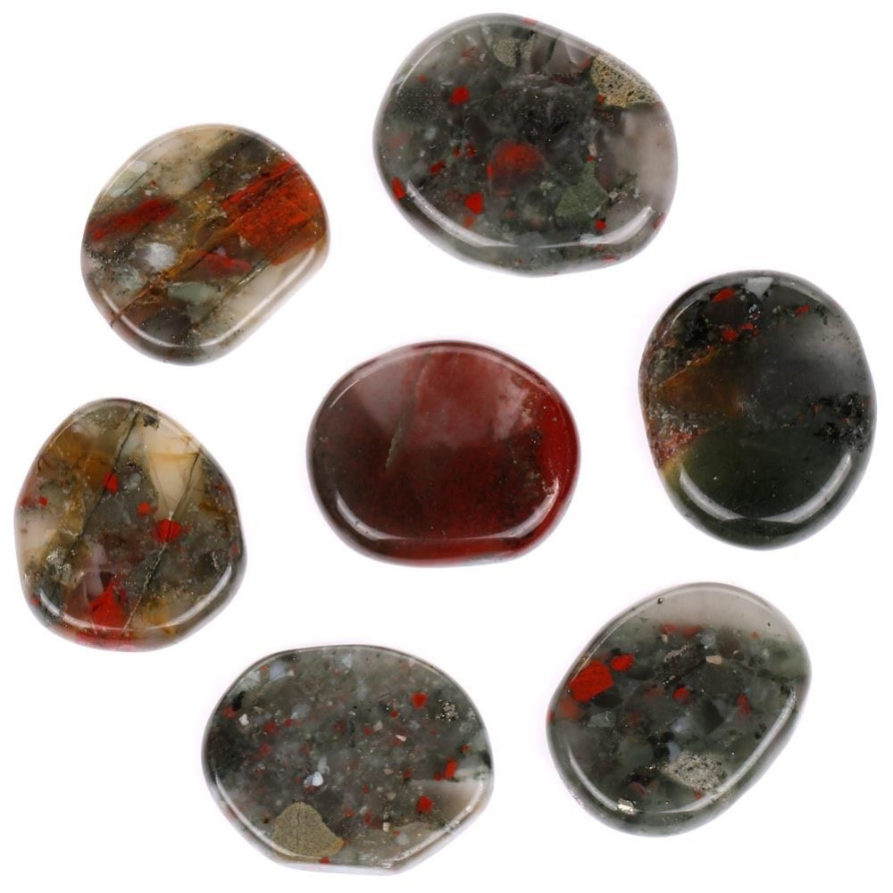 Stress Relax Healing Reiki Crystal Pocket Palm Stones,Pack of 2 Loveliome Black Obsidian and Africa Bloodstone Thumb Worry Stone