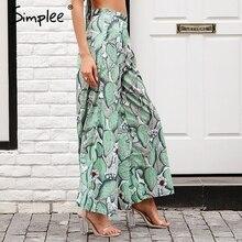 Simplee Print high waist wide leg pants Women trousers pleated zipper casual pants female Streetwear spring ladies pants capris