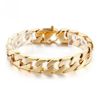 Fashion Jewelry for Men Hip Hop Gold Stainless Steel Curb Chain Link Bracelet 15mm8.66