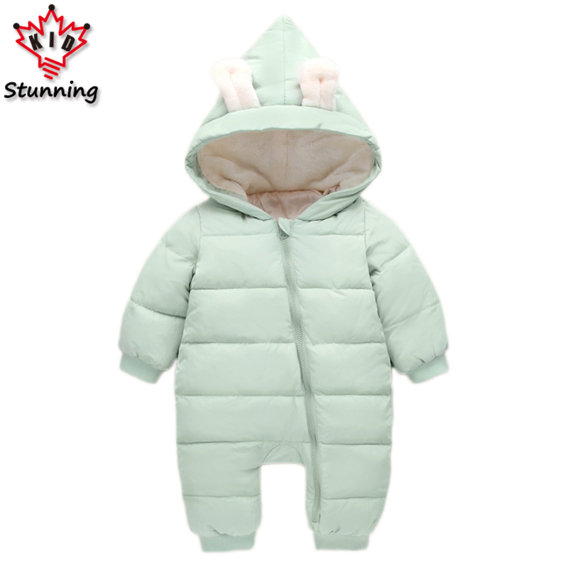 6-24M Snow Wear Baby Boys Girls Rompers Down Coats Winter 2017 Baby Clothing Cotton Girls Coats Fashion Baby Outerwear & Coats 2016 winter russia winter down coats for baby clothing fashion shinning waterproof snowsuits warm snow wear for baby girls boys