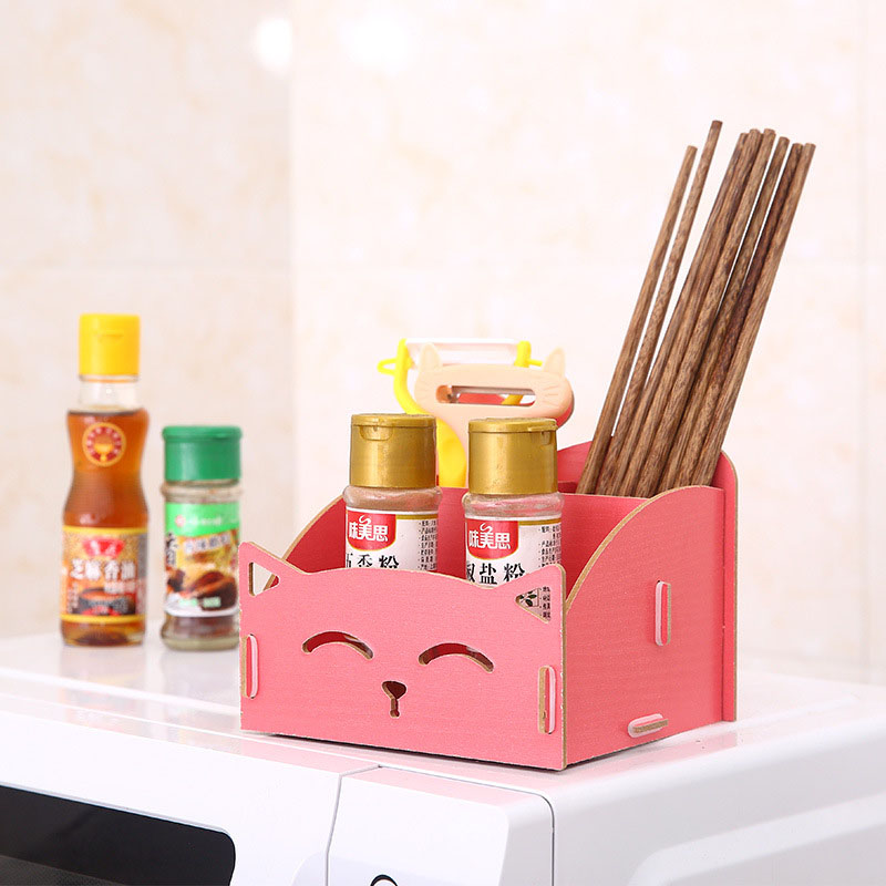 New Fashion Cartoon Kitten Storage Box Wooden Cosmetic Makeup Organizers Women Earrings Collection Home Storage 15 13 13 5CM in Storage Baskets from Home Garden