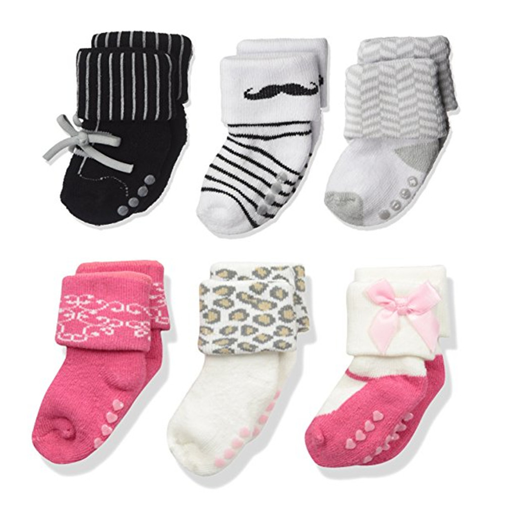 3 Pairs KF Baby Toddlers Boys Girls Non-Skid Slipper Socks Value Pack