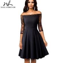 Güzel sonsuza kadar Vintage Nakış Seksi Çiçek Dantel Patchwork Kapalı Omuz vestidos A Line Pinup Iş Kadın Flare Elbise A071