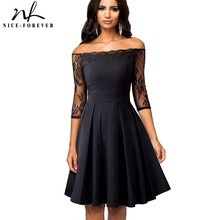 Nice-forever Vintage Embroidery Sexy Floral Lace Patchwork Off Shoulder vestidos A-Line Pinup Business Women Flare Dress A071