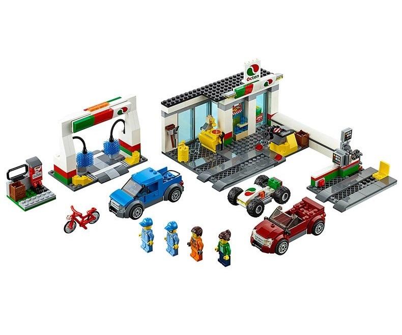 new Service Station City Building Blocks Car Wash Gas Station Model Bricks Educational Toys Kids Gifts