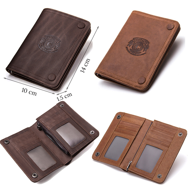 CONTACT'S Men Wallets Brand Design Crazy Horse Genuine Leather Male Short Wallet Hasp Man's Purse With Coin Pockets Card Holders 4