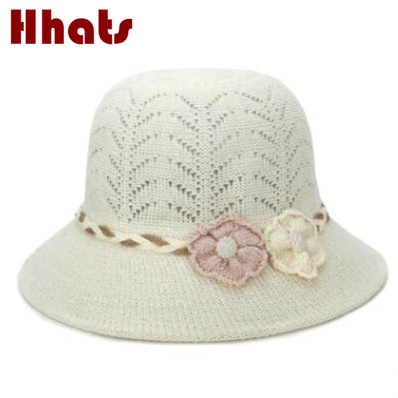 which in shower breathable knitted sun hat for old women solid fashion  pearl flower crochet summer grandma beach cap panama -in Sun Hats from  Apparel ... 4c8c8e07f87