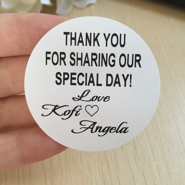 60pcs 5 cm large personalised weeding birthday thank you for sharing our special date self adhesive