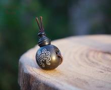 Natural Black Sandalwood Ebony Guru Bead Silver Inlay Charms Mala Beads Japa Bracelet Jewellry Findings DIY Accessories