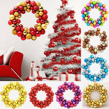 Christmas Wreath Ball Ornaments Shatterproof Front Door Window Hanging Xmas Decoration For Holiday Event Indoor Outdoor Use(China)