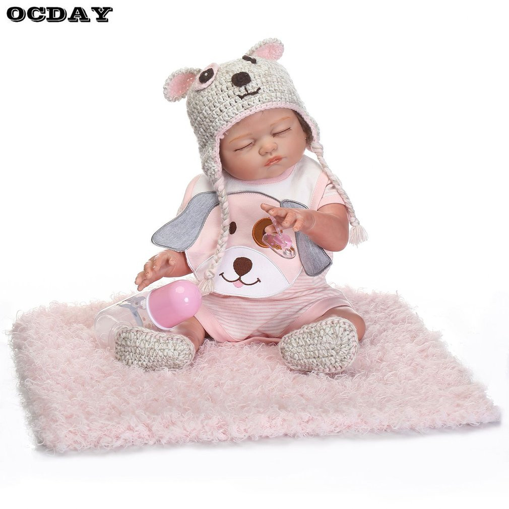 18 Inch Kawaii Reborn Baby Dolls Toys For Girls Full Body Realistic Silicone Lifelike Reborn Doll Early Educational Toys Gift