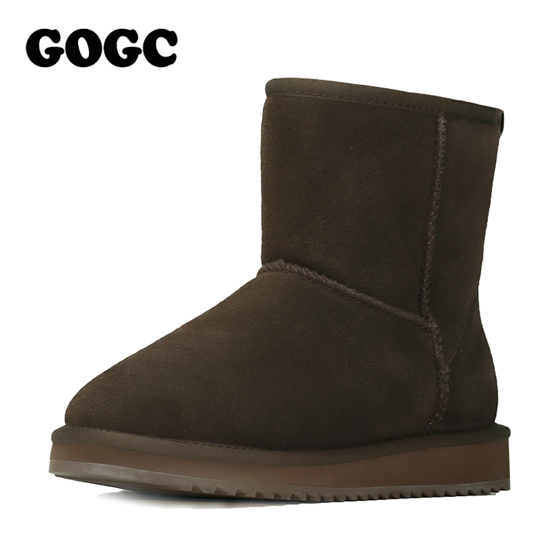 GOGC 2018 Genuine Leather Ankle Boots Womens Winter Boots Womens Winter Shoes Snow Flat  ...